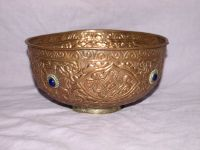 Vintage Embossed Copper Bowl with Brass Foot & Blue Glass Decoration.