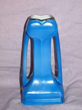 Blue Art Nouveau Handled Vase. (3)