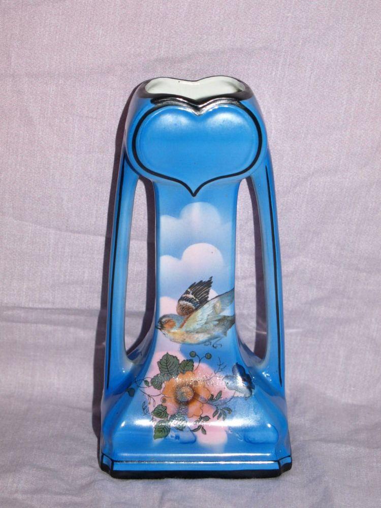 Blue Art Nouveau Handled Vase.