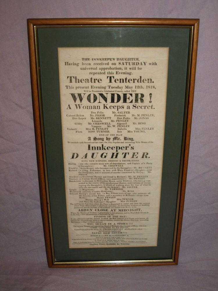 Georgian Theatre Bill Poster, Tenterden 1818.
