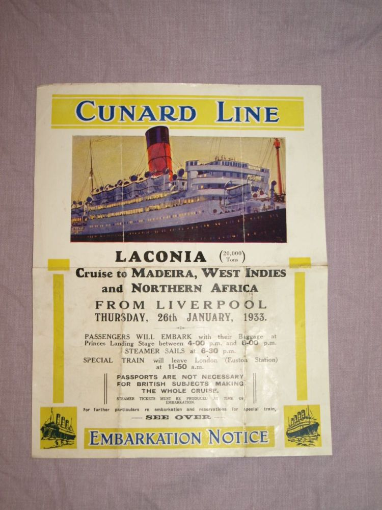 Cunard Line Laconia Embarkation Notice 1933 Poster.