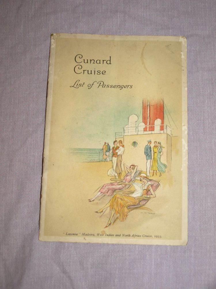 Cunard Line Cruise Laconia Passenger List 1933.