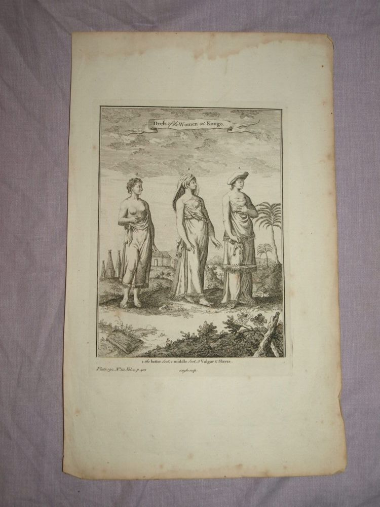 18th Century Antique Engraving Dress of the Women at Congo.