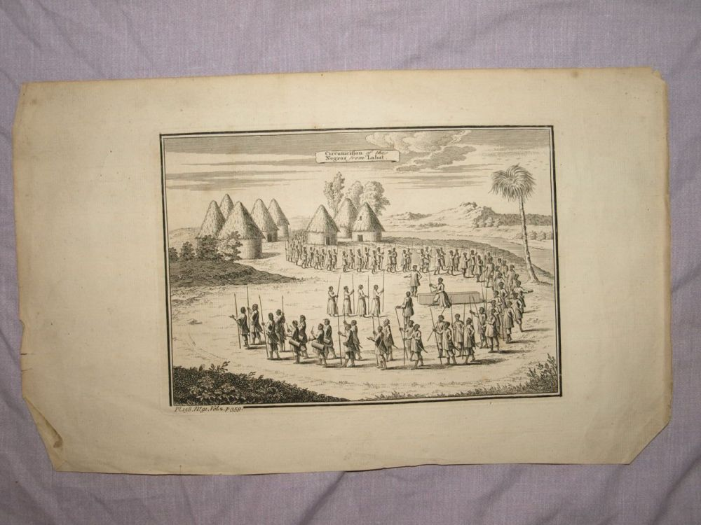 18th C Antique Engraving, Circumcision of the Negros from Labat.