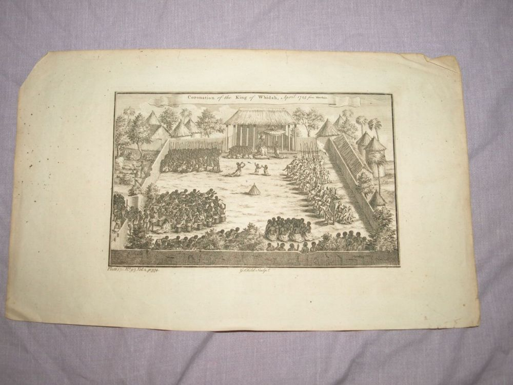 18 C Antique Engraving, Coronation of the King of Whidah, April 1725 from Marchais.