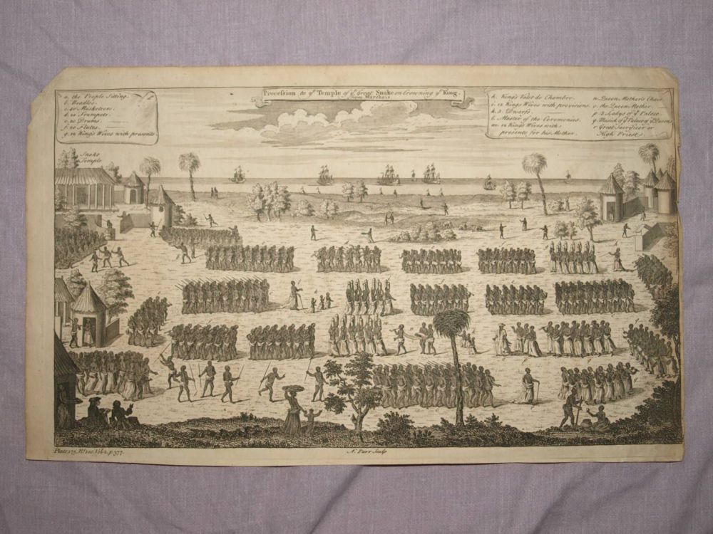 18 C Antique Engraving, Procession to Ye Temple of the Great Snake on Crowning Ye King.