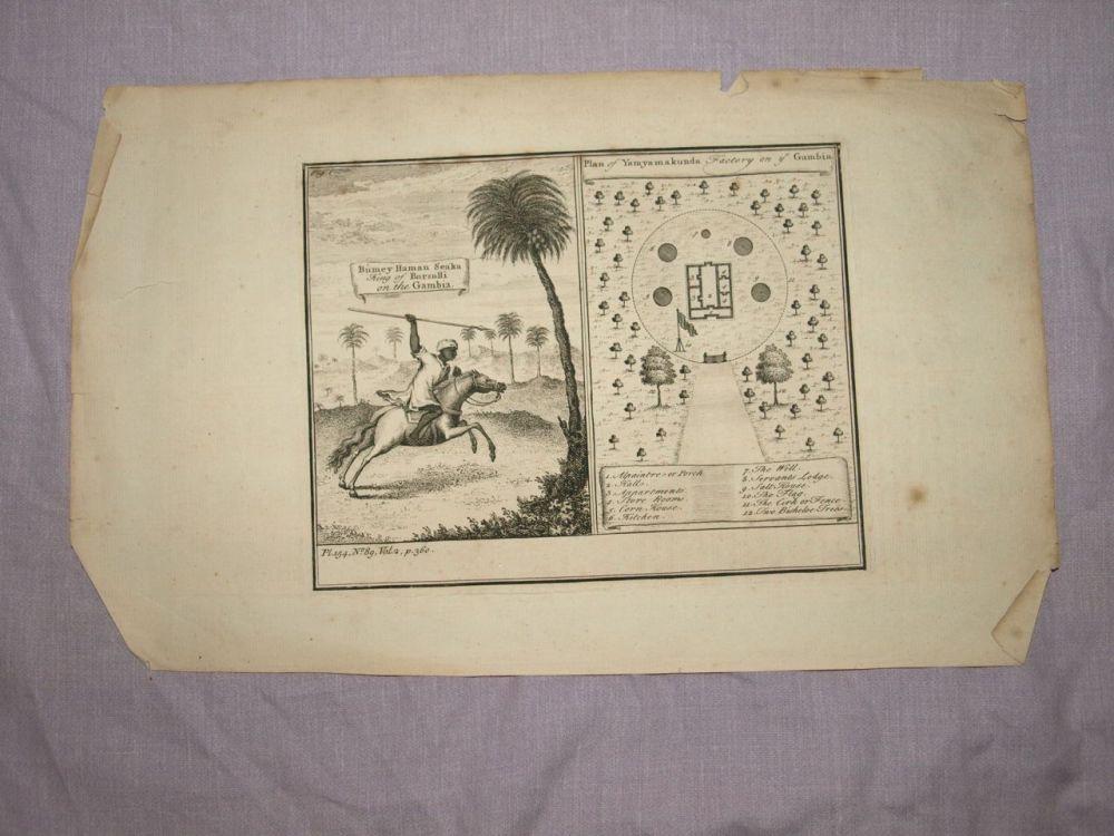 18 C Antique Engraving, King of Barsalli, Plan of Yamyamakunda Factory.