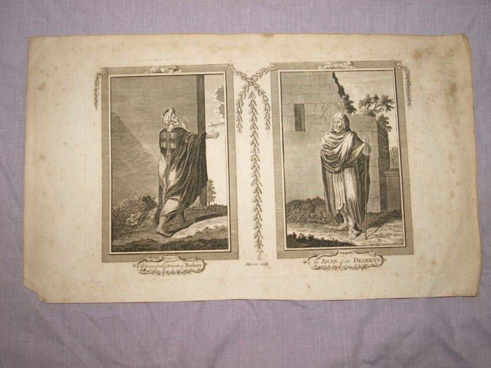 18 C Antique Engraving, A Principal Person of Barbary & An Arab of the Desert.