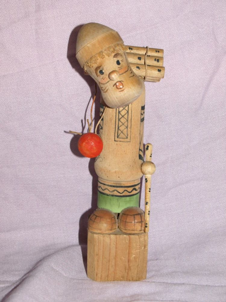 Vintage Russian Made Wood Carrier Figure.