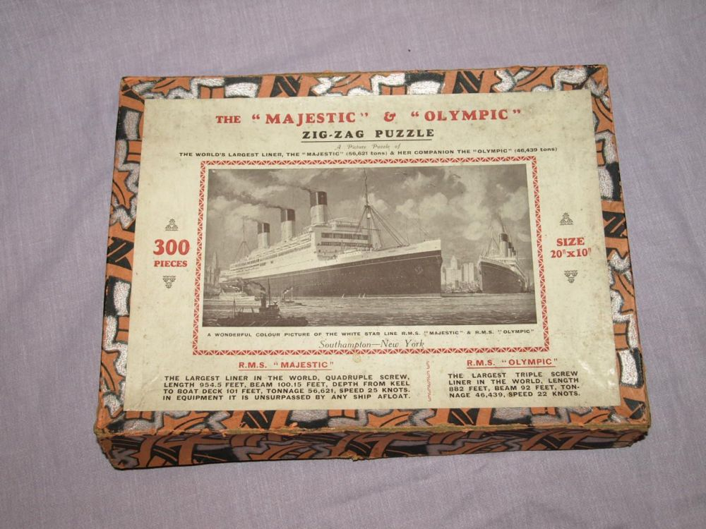 The Majestic & Olympic Vintage 300 Piece Zig Zag Wooden Jigsaw Puzzle.