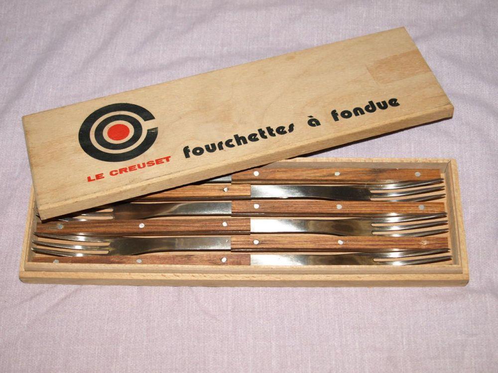 Le Creuset Fondue Forks, Vintage Set in Wooden Box.