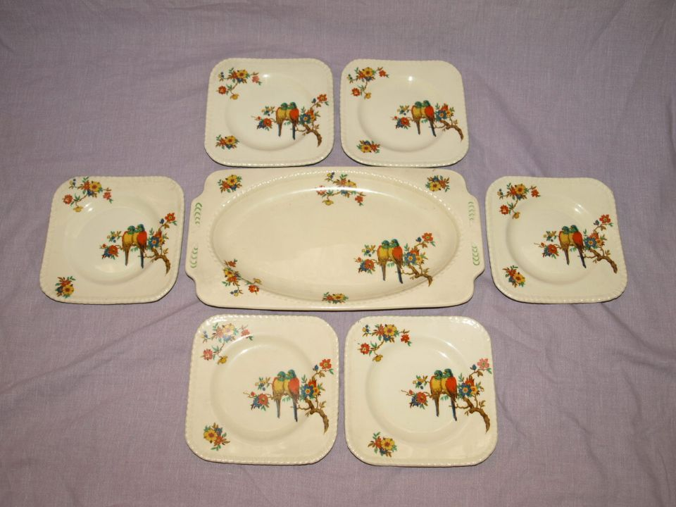 Art Deco Parrot Pattern Squareform Sandwich Plate and Side Plates.