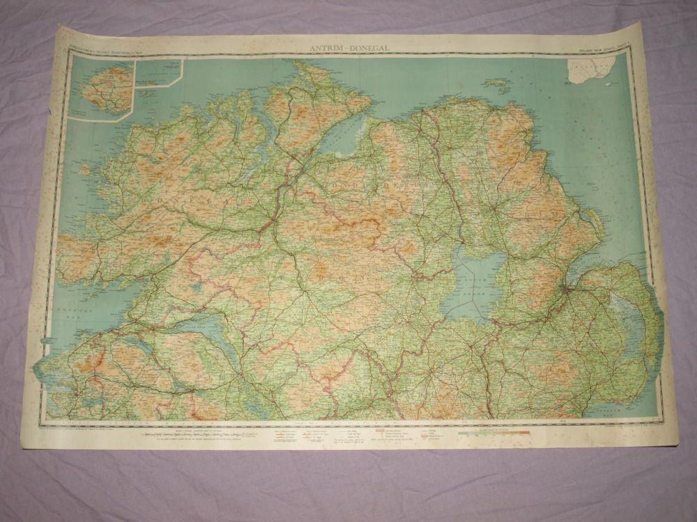Bartholomew's ¼ Inch Map Of Ireland, Antrim-Donegal.