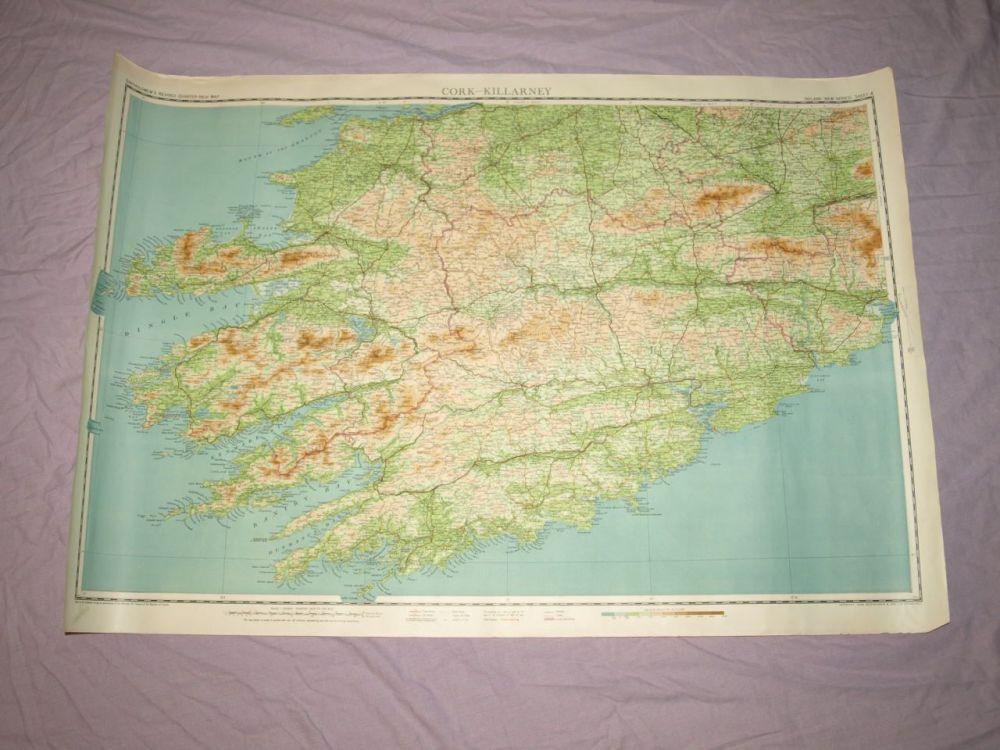 Bartholomew's ¼ Inch Map Of Ireland, Cork-Killarney.