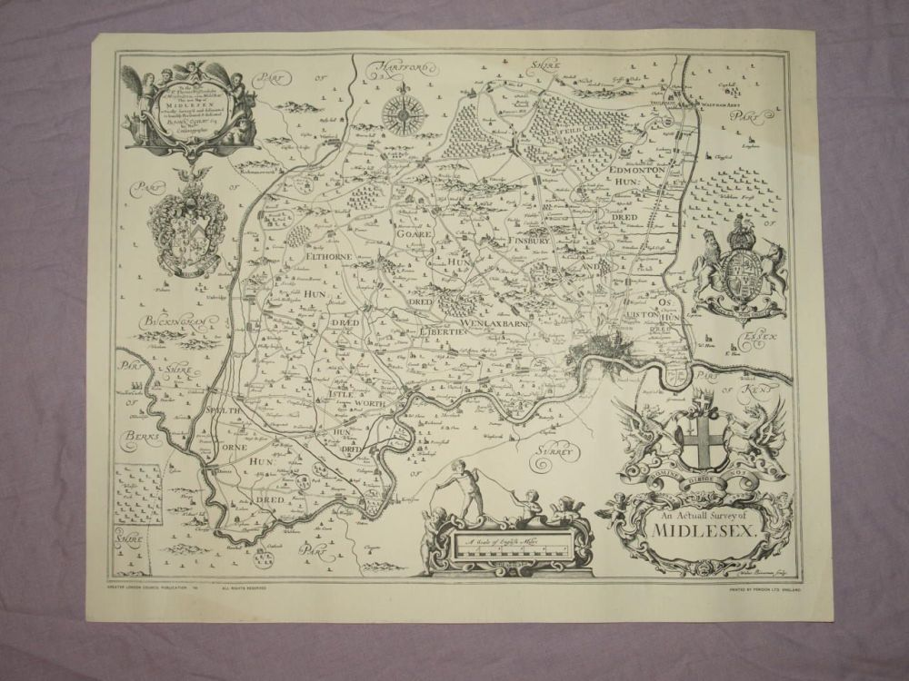 Actual Survey Map of Middlesex, 1670s by John Ogilby, Reproduction.
