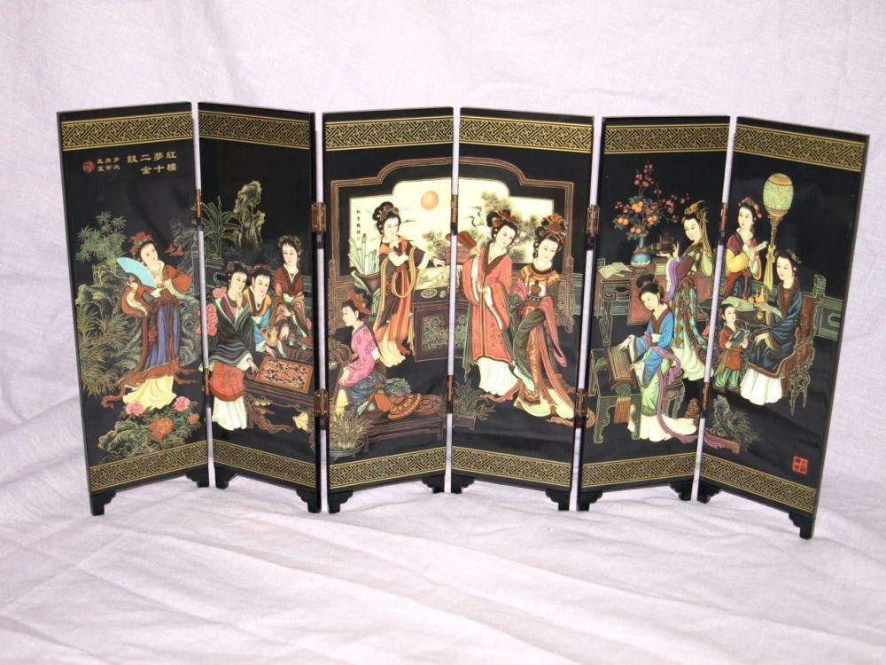 Miniature Chinese Folding Screen, Twelve Beauties of Jinling.