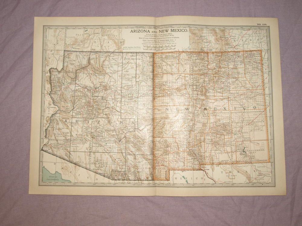 Map of Arizona and New Mexico, 1903.
