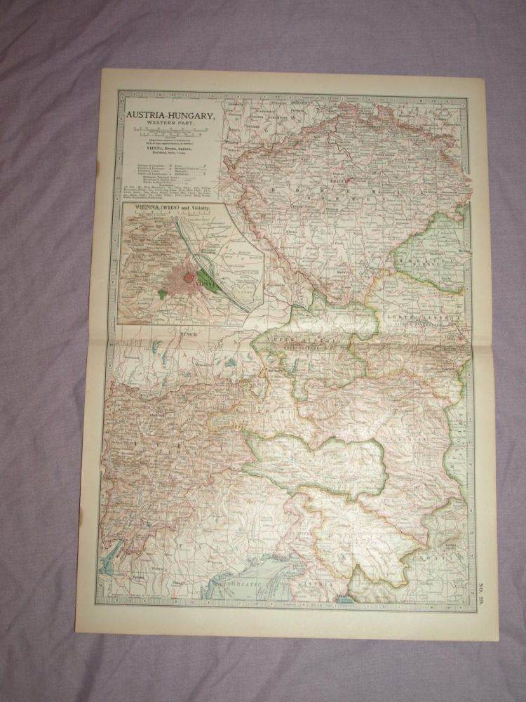Map of Austria Hungary, Western Part, 1903.