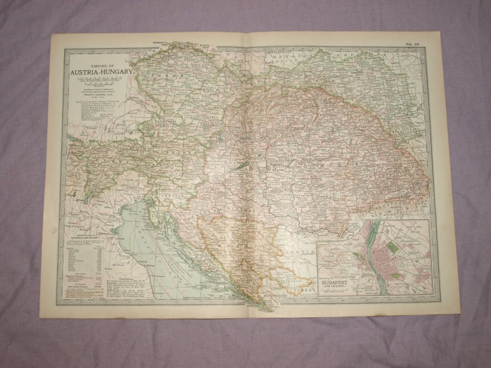 Map of Empire of Austria Hungary, 1903.