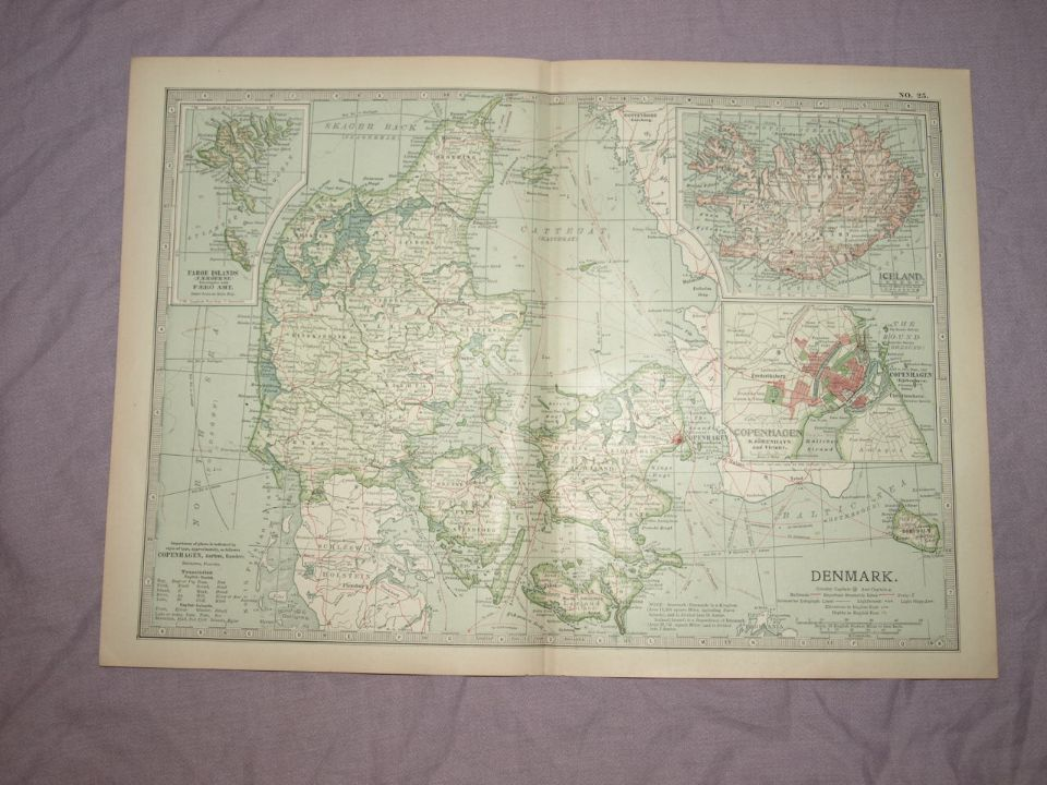 Map of Denmark and Iceland, 1903.