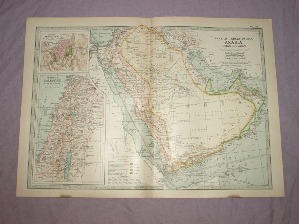 Map of Arabia, Oman and Aden, 1903.