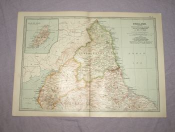 Map of The North of England and The Isle of Man, 1903.