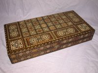 Inlaid Wooden Folding Backgammon, Chess and Draughts Board.