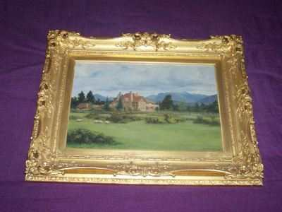 Oil Painting by W.J.Medcalf 1926. Scottish Country House. Gilt Frame.