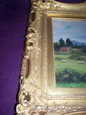 OIl Painting by W.J.Medcalf 1926. Scottish Country House.Gilt Frame