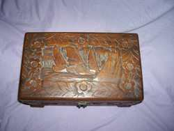 Lovely Orriental Carved Box With Lock