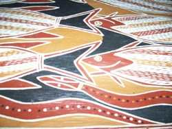 Aboriginal Painting On Bark By Robin Guningbal