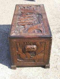 Antique Oriental Camphor & Hardwood Carved Chest - Trunk.