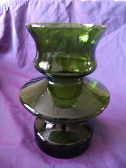Retro 1970s Green Glass Vase.