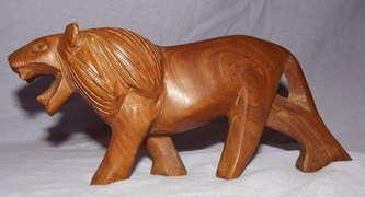Carved Wooden Lion.
