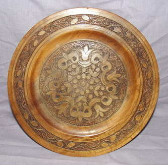 Carved wooden Plate with Brass Inlay.