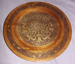 Carved wooden Plate with Brass Inlay (2)
