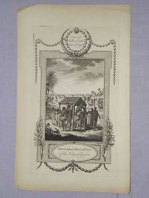 Antique Engraving, Sepulchral Monuments of Guinea, 1777.