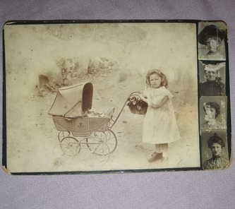 Victorian Cabinet Photograph Child with Pram.
