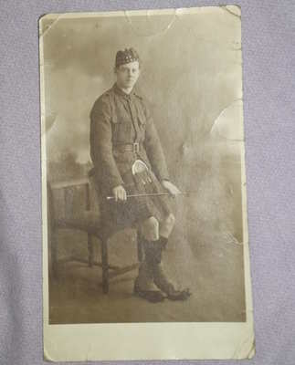 Postcard Photograph of Scottish Soldier in Kilt.