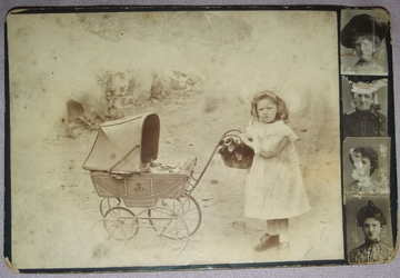 Victorian Cabinet Photograph Child with Pram