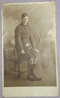Postcard Photograph of Scottish Soldier in Kilt