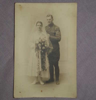 Postcard Photograph of WW1 Wedding Couple.