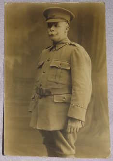 Postcard Photograph of WW1 Officer Standing