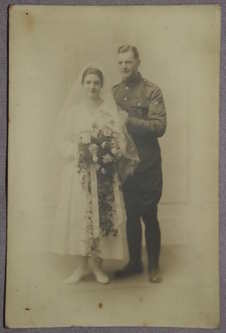 Postcard Photograph of WW1 Wedding Couple