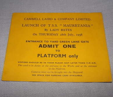 Cammell Laird & Co Mauretania Launch Ticket 1938.