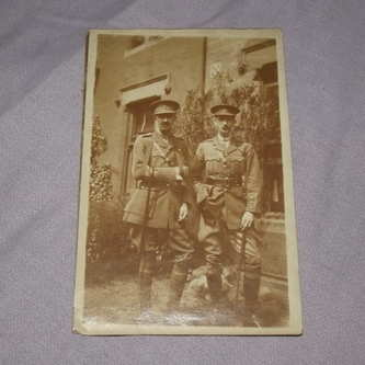 Postcard Photograph of Two WW1 Officers.
