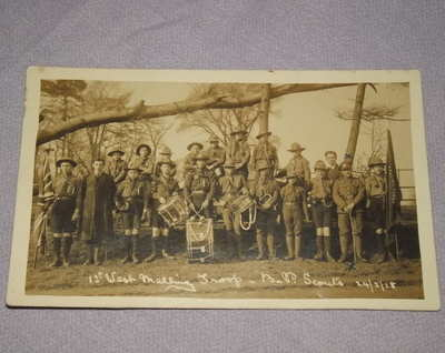 Postcard Photograph of 1st West Malling Scout Troop 1918.