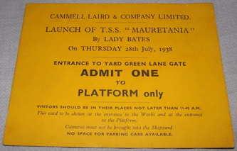 Co Mauretania Launch Ticket 1938