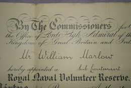 WW1 Royal Naval Reserve Commission 1915 (6)