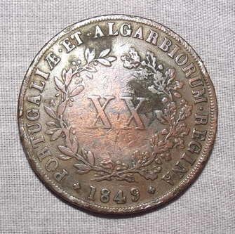 Lucernae XX Reis Copper Coin. Maria II. 1849.